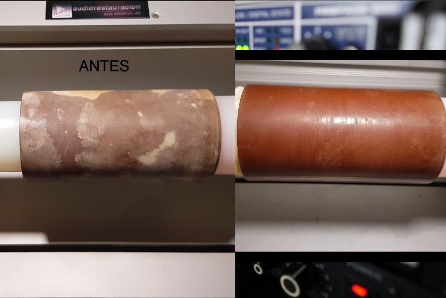 MOLDY WAX CYLINDER BEFORE AND AFTER